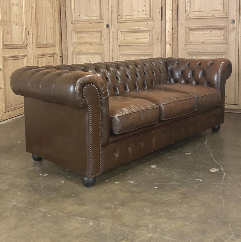 English Chesterfield Tufted Leather Sofa For Sale