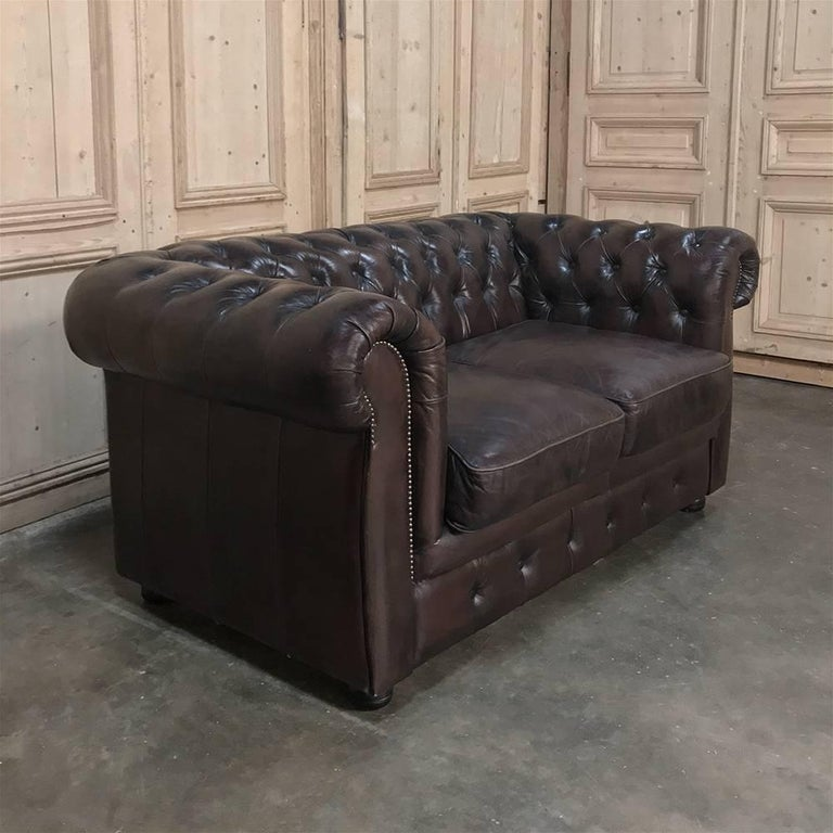 Dyed Chesterfield Two-Seat Brown English Leather Sofa For Sale