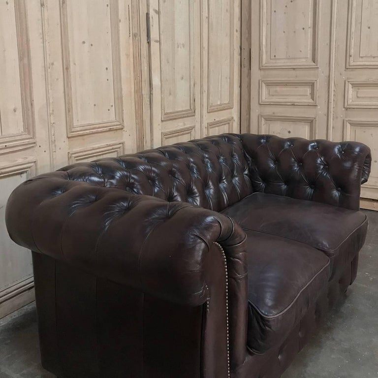 Chesterfield Two-Seat Brown English Leather Sofa In Good Condition For Sale In Dallas, TX