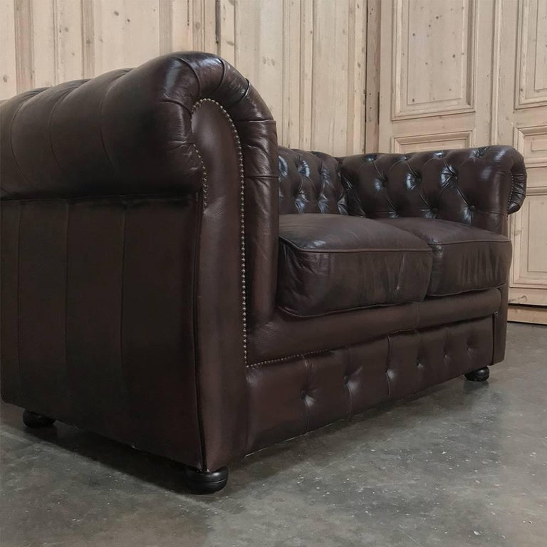 20th Century Chesterfield Two-Seat Brown English Leather Sofa For Sale