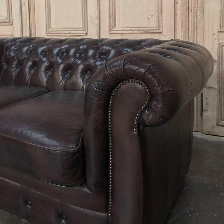 Chesterfield Two-Seat Brown English Leather Sofa For Sale 2