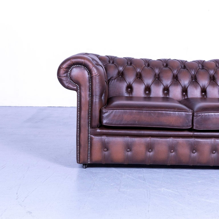 British Chesterfield Two Seat Sofa Brown Leather Couch Vintage Retro Rivets For