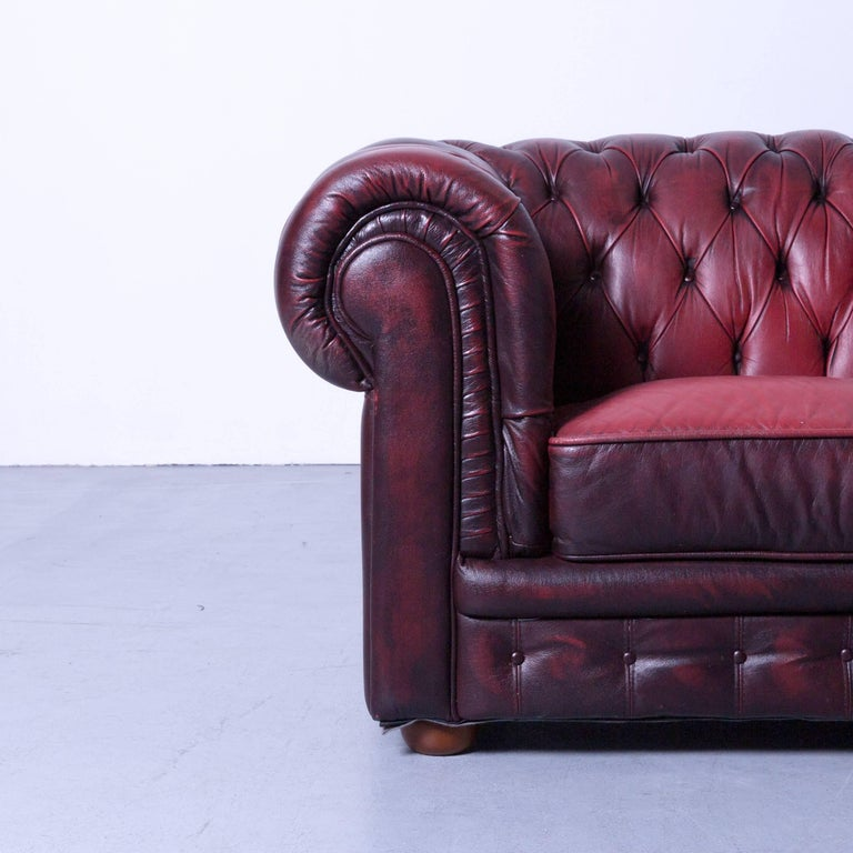 British Chesterfield Two-Seat Sofa Red Leather Couch Vintage Retro Rivets For Sale