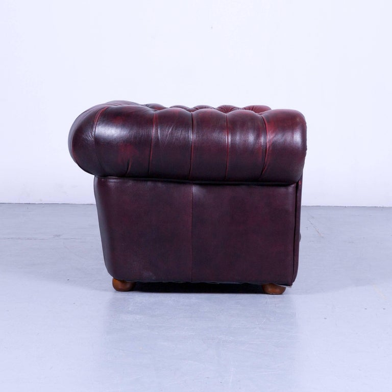 Chesterfield Two-Seat Sofa Red Leather Couch Vintage Retro Rivets For Sale 2