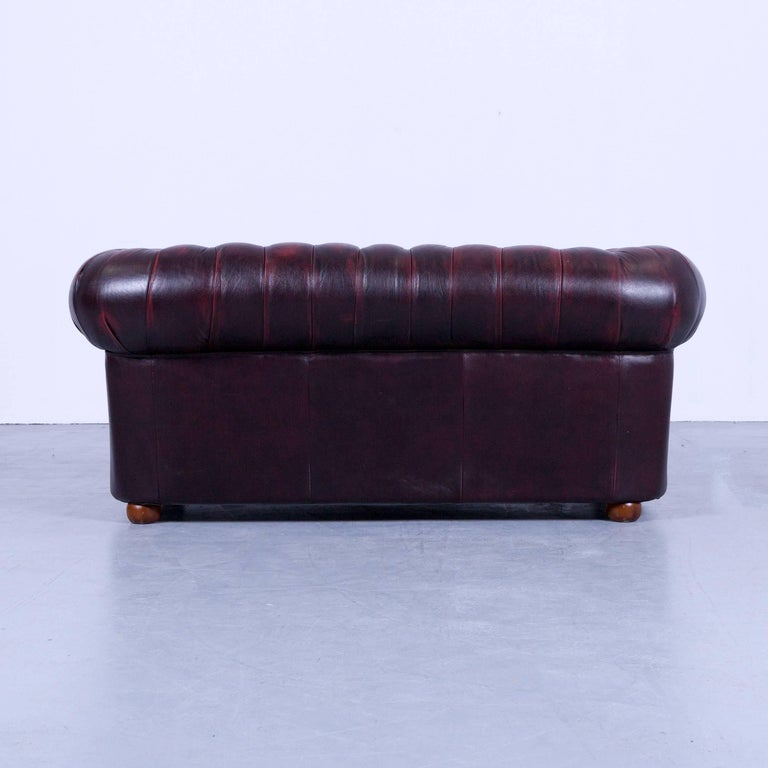 Chesterfield Two-Seat Sofa Red Leather Couch Vintage Retro Rivets For Sale 3