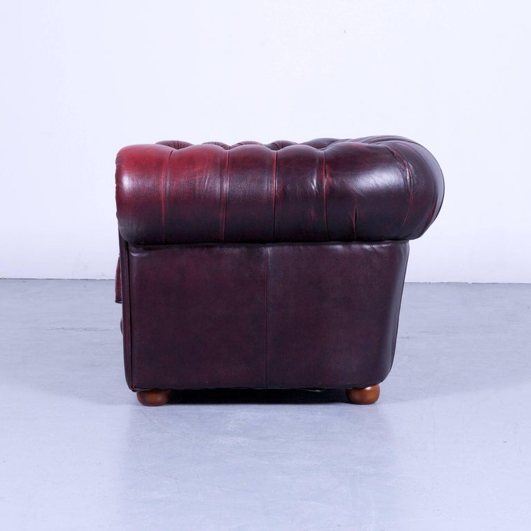 Chesterfield Two-Seat Sofa Red Leather Couch Vintage Retro Rivets For Sale 4