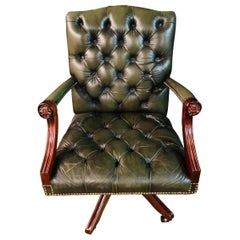 Chesterfield Vintage Green Leather Captains Directors Office Chair
