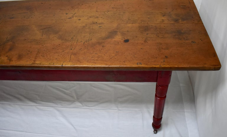 Chestnut and Oak Two Board Farmhouse Table For Sale 4