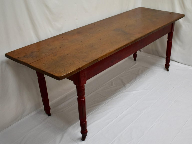Country Chestnut and Oak Two Board Farmhouse Table For Sale