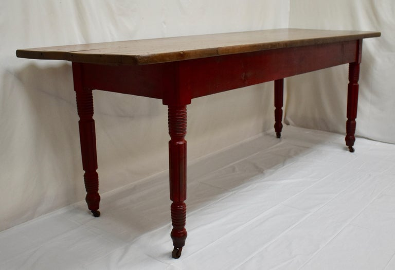 American Chestnut and Oak Two Board Farmhouse Table For Sale