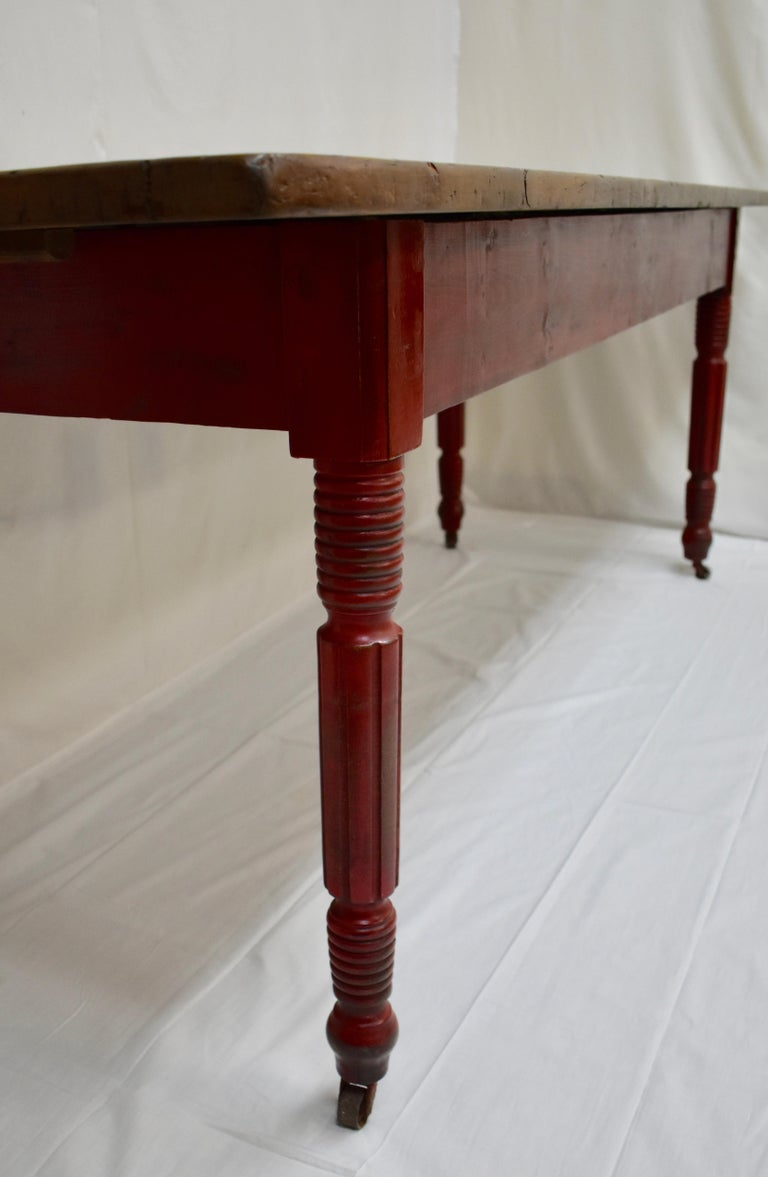 Hand-Painted Chestnut and Oak Two Board Farmhouse Table For Sale