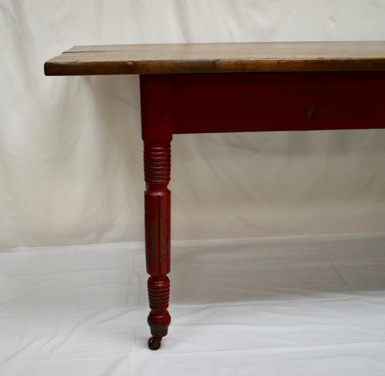 Chestnut and Oak Two Board Farmhouse Table In Good Condition For Sale In Kensington, MD