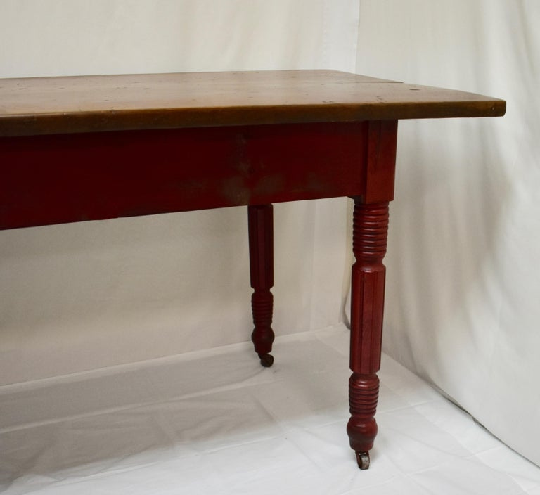 Chestnut and Oak Two Board Farmhouse Table For Sale 1