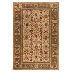 Mid Century Chestnut Handwoven Wool Antique Persian Sultanabad Rug