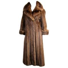 Chestnut Brown Long Mink Wide Collar Coat - Vintage