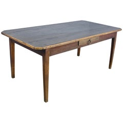 Chestnut Farm Table with Canted Corners and Decorative Edge