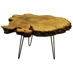 Chestnut Tree Live Edge Coffee Table with Hairpin Legs / LECT125