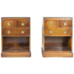Chests with Leather Writing Tables, 1950s, Set of 2