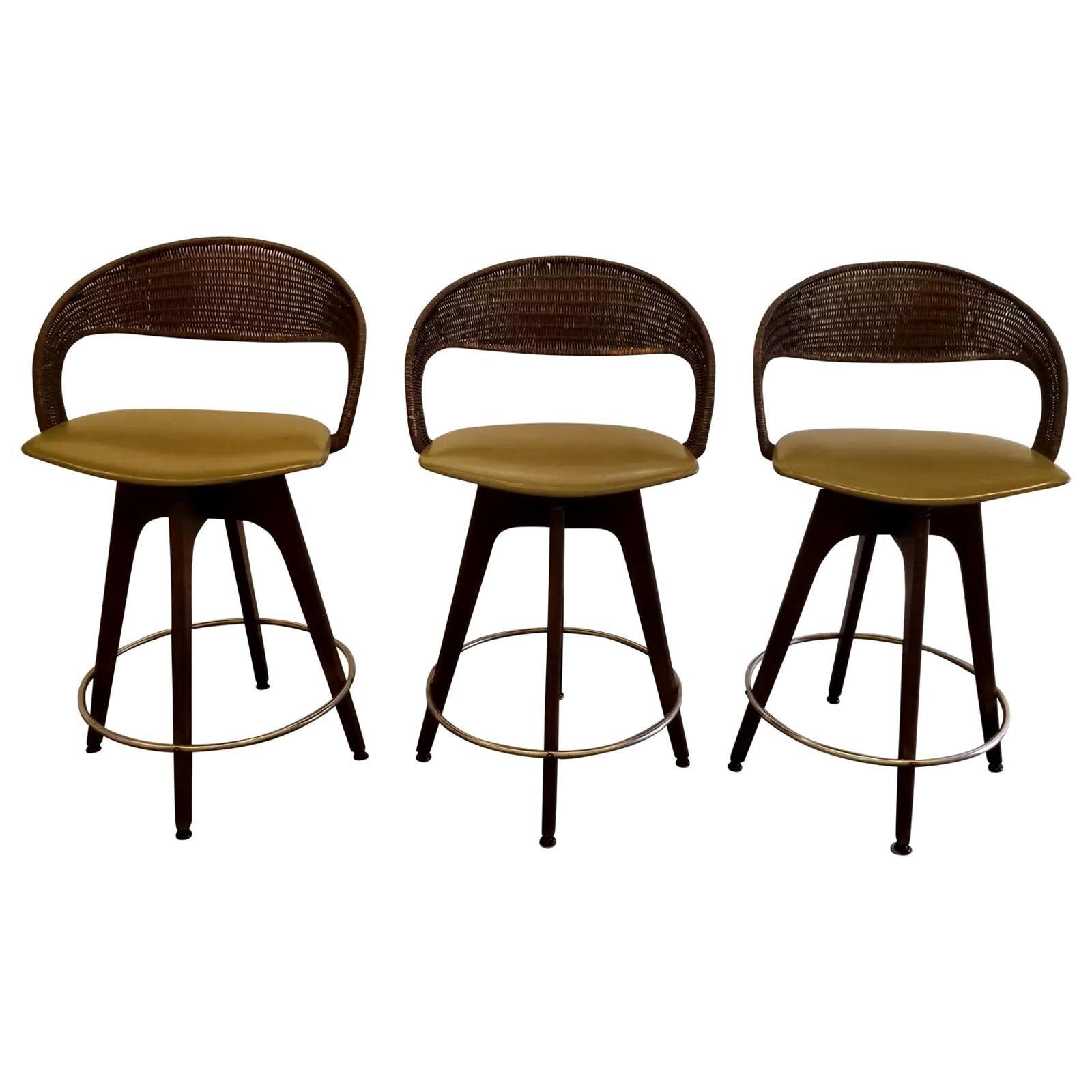 Chet Beardsley Mid-Century Modern Swivel Bar Stools, Set 3