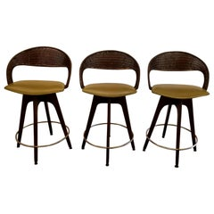 Chet Beardsley Mid-Century Modern Swivel Bar Stools, Set 3