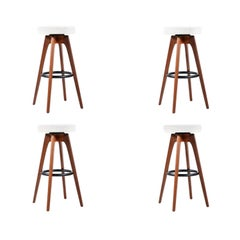 Chet Beardsley Sculpted Walnut Swiveling Stools for Living Design
