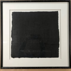 The Beginning, 2021, cast paper, framed sculpture, black, Chinese text