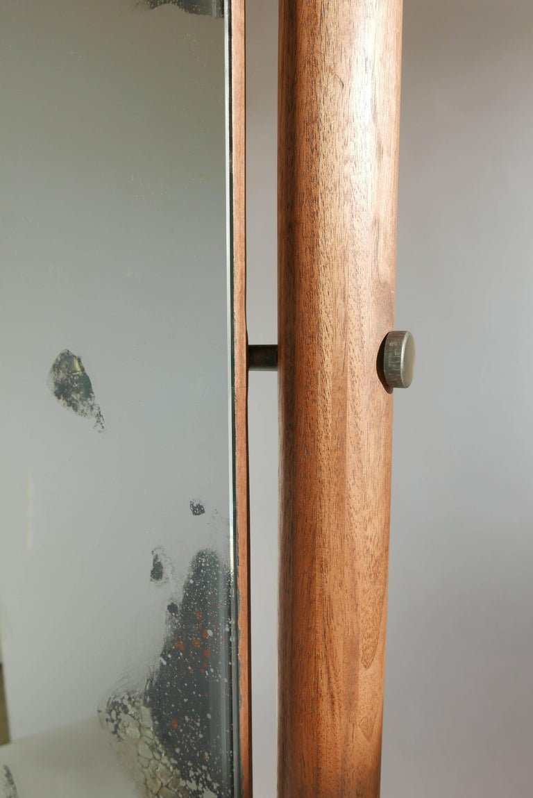 American Black Walnut and Hand Antiqued Cheval Floor Mirror In New Condition For Sale In Vancouver, BC