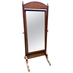 Cheval Mirror in Mahogany, English, circa 1900