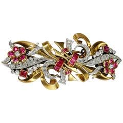 Chevalier 18 Karat Rose Gold Ribbon Retro Double Clip Flower Brooch