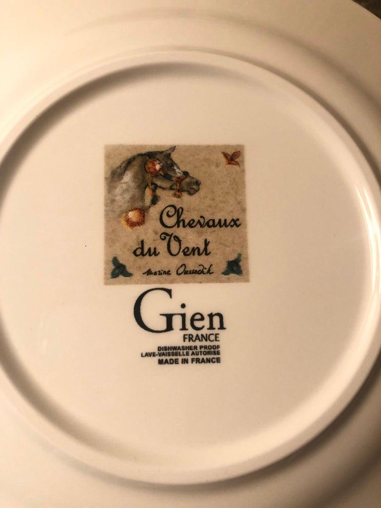French Chevaux Du Vent 4 Dessert Plates Arabian Wind Horses by Gien, France For Sale