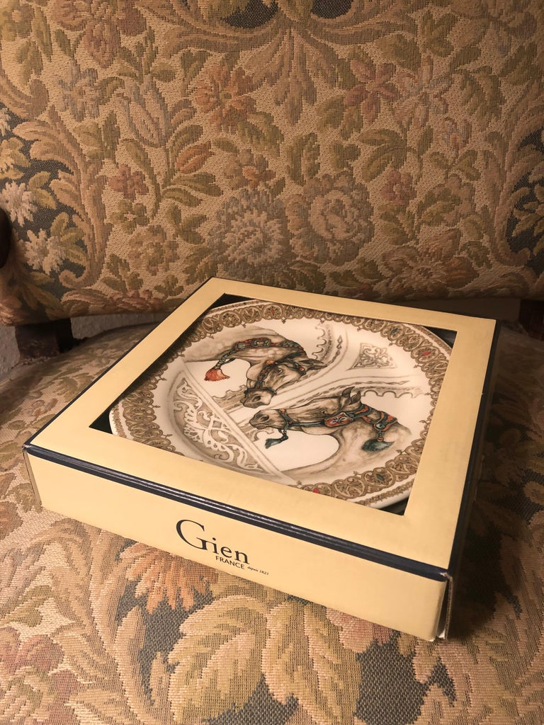 Chevaux Du Vent 4 Dessert Plates Arabian Wind Horses by Gien, France In Excellent Condition For Sale In London, GB