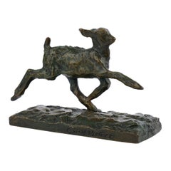 """Chevreau Courant"" French Modernism Bronze Sculpture by Ary Bitter & Susse"