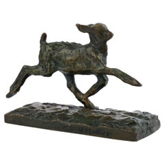 """""""Chevreau Courant"""" French Modernism Bronze Sculpture by Ary Bitter & Susse"""