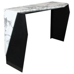 Chevron Console Table in Marble and Blackened Steel