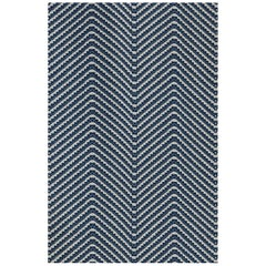 'Chevron' Contemporary, Traditional Fabric in Ink Blue