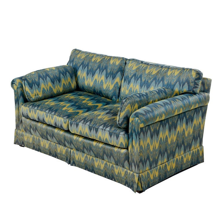 Late 20th Century Chevron Fabric 1970s Baker Sofa Loveseat Sofa Set For Sale