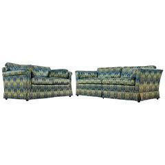 Chevron Fabric 1970s Baker Sofa Loveseat Sofa Set