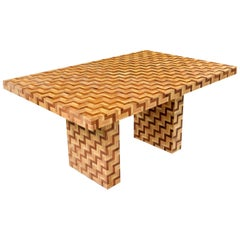 Chevron Harringbone Parquet Bamboo Rattan Pedestal Dining Table or Desk, 1970s