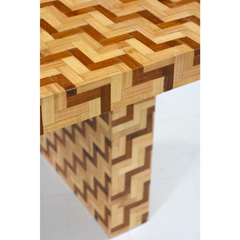 Late 20th Century Chevron Harringbone Parquet Bamboo Rattan Pedestal Dining Table or Desk, 1970s