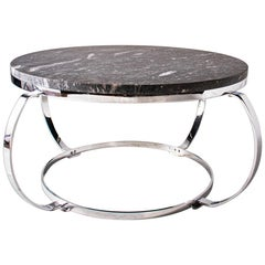 Cheyenne Marble Coffee Table with Rounded Chrome Base