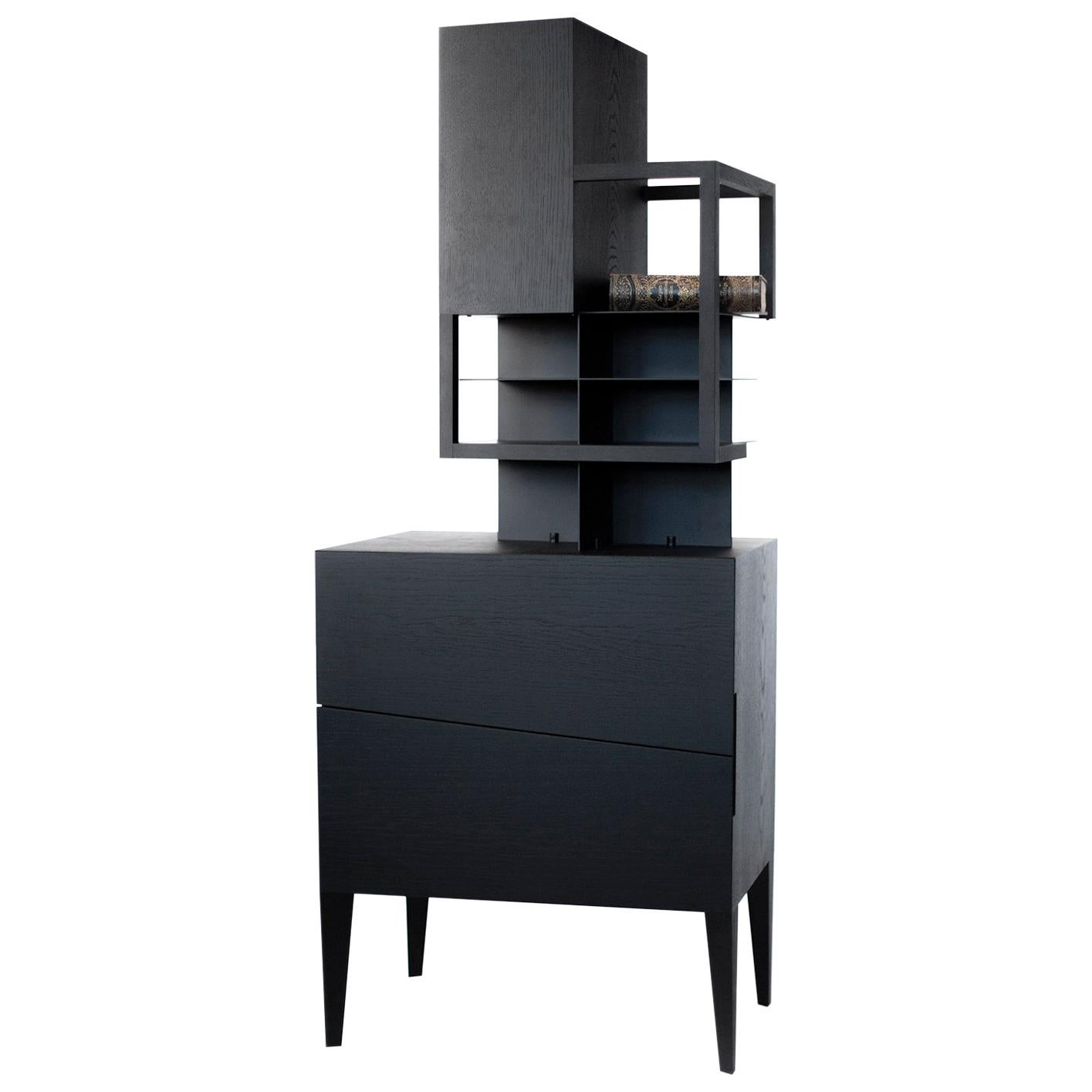 Contemporary Commode or Cabinet  by Studio 1+11 , Black wood  21st Cent ,Germany
