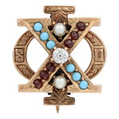 Chi Phi Badge, 14k Gold Turquoise Brown University Secret Order Fraternity Pin