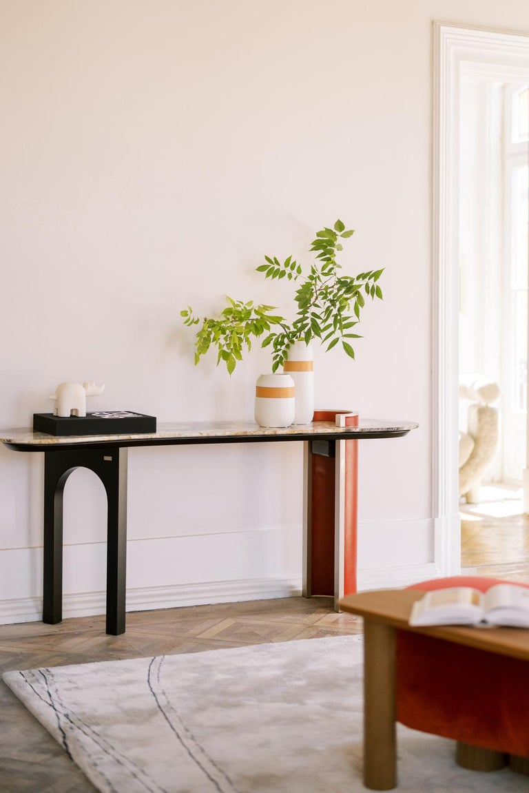 Modern Chiado Console Backlit Patagonia Granite Red Leather Champagne Black Lacquered For Sale