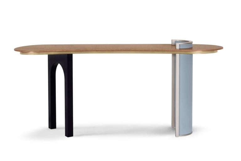 Chiado Console Blue Leather Champagne Black Lacquered Brushed Brass Oak Root Top For Sale 6