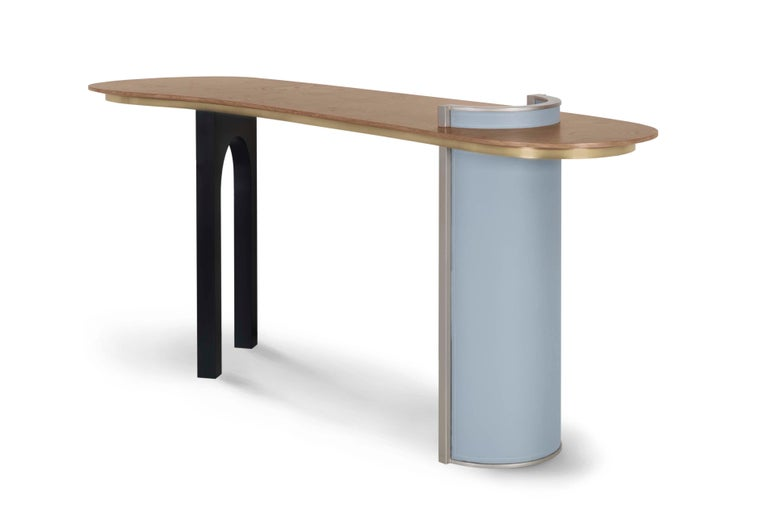 Chiado Console Blue Leather Champagne Black Lacquered Brushed Brass Oak Root Top For Sale 7