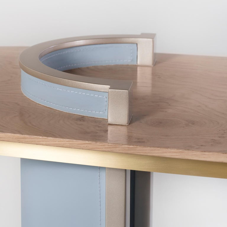 Chiado Console Blue Leather Champagne Black Lacquered Brushed Brass Oak Root Top For Sale 2