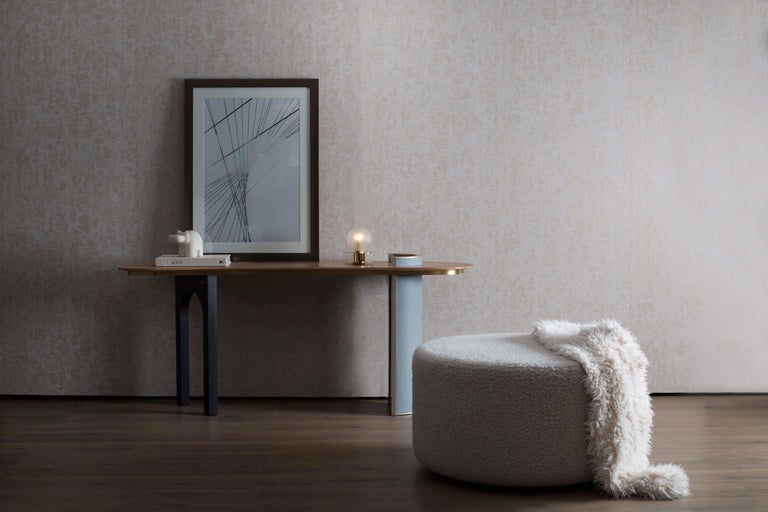 Modern Chiado Console Blue Leather Champagne Black Lacquered Brushed Brass Oak Root Top For Sale