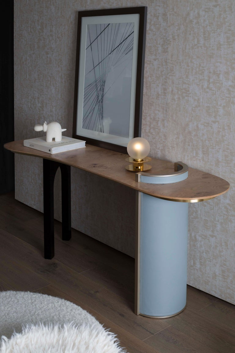 Marquetry Chiado Console Blue Leather Champagne Black Lacquered Brushed Brass Oak Root Top For Sale
