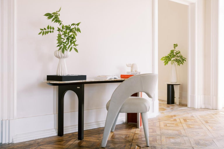 Chiado Console Blue Leather Champagne Black Lacquered Brushed Brass Oak Root Top For Sale 4