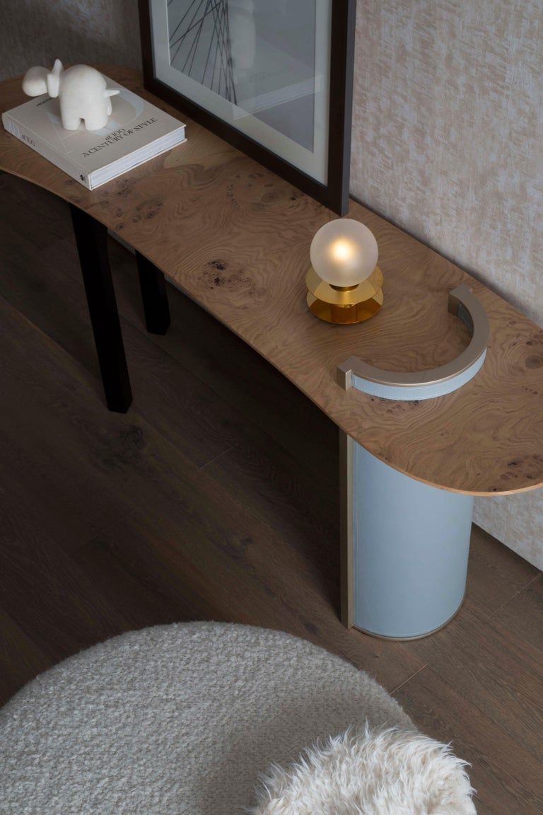 Contemporary Chiado Console Blue Leather Champagne Black Lacquered Brushed Brass Oak Root Top For Sale